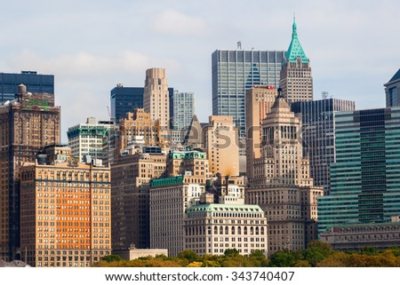 skyline of downtown Manhattan seen from East River, Manhattan, New York City - stock photo