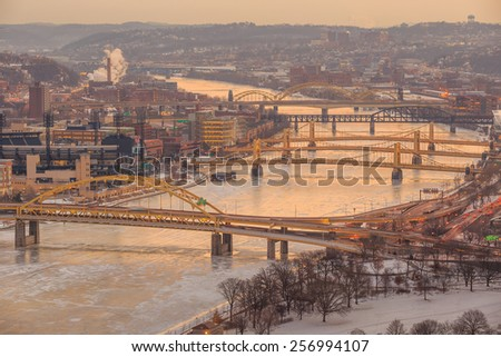 Skyline of downtown Pittsburgh at sunrise - stock photo