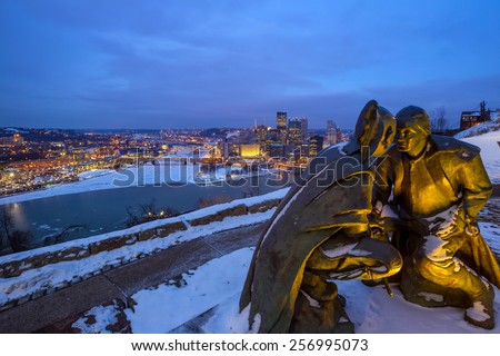Skyline of downtown Pittsburgh at twilight - stock photo