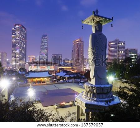 Skyline of downtown Seoul, South Korea from bongeunsa temple - stock photo