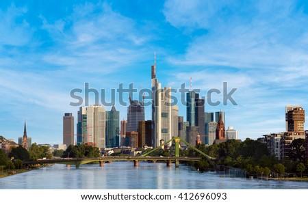 Skyline of Frankfurt - stock photo