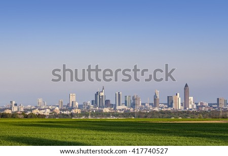 skyline of Frankfurt am Main n sunset - stock photo
