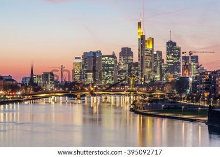 Skyline of Frankfurt Main downtown illuminated at night, Germany - stock photo