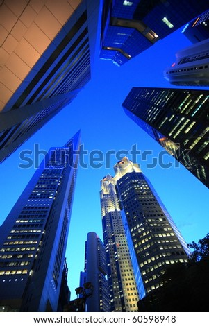 skyline of highrise buildings at Singapore - stock photo
