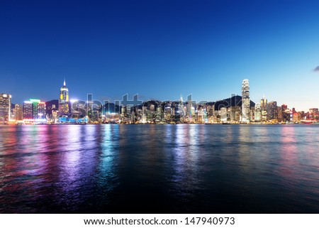 skyline of Hong kong - stock photo