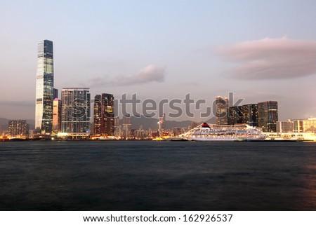 Skyline of Hong Kong at dusk - stock photo