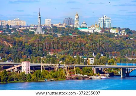 Skyline of Kiev - the capital of Ukraine  in the sunshine day - stock photo