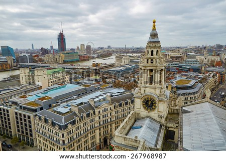 Skyline of London seen from the observation deck of St. Paul's cathedral - stock photo
