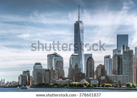 Skyline of lower Manhattan of New York City with World Trade Center - stock photo