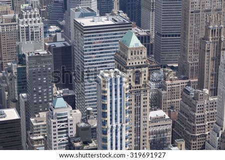 skyline of Manhattan, New York - stock photo
