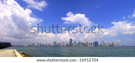 Skyline of Miami, Florida. Large panorama with stunning details. Blue sky with massive cloud formations on a sunny summer's day. - stock photo