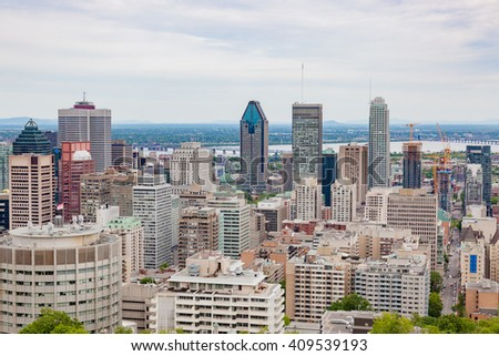 Skyline of Montreal, Canada. Summer. View from Mount-Royal.  - stock photo
