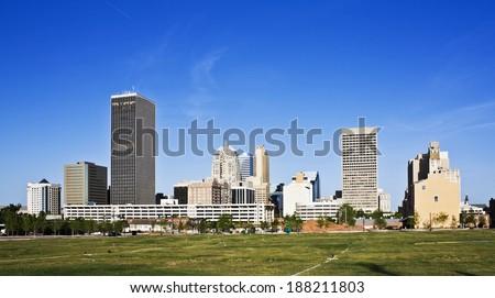 Skyline of Oklahoma City, Oklahoma. - stock photo