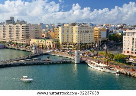 Skyline of Old San Juan, Puerto Rico - stock photo