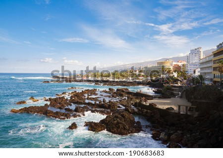 skyline of old town of Puerto de la Cruz, Tenerife, Spain - stock photo