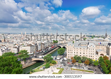 skyline of Paris city  at sunny summer day, France - stock photo
