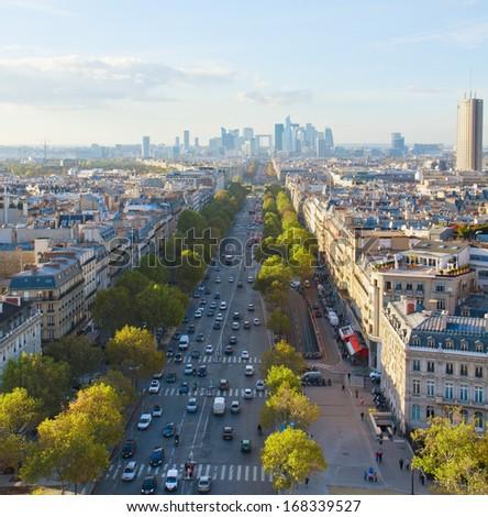 skyline of Paris city  towards La Defense district, France - stock photo