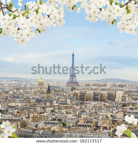 skyline of Paris city with Eiffel Tower from above at spring, France - stock photo
