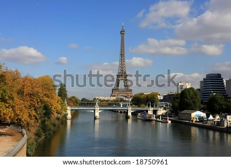 Skyline of Paris in a beautiful autumn day - stock photo
