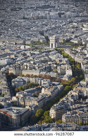 Skyline of Paris with the arch of triumph from the Eiffel Tower in Paris, France - stock photo