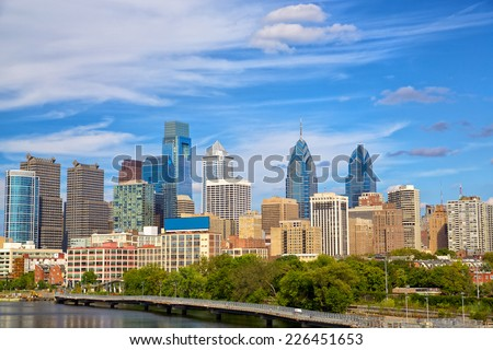 Skyline of Philadelphia downtown, Pennsylvania, USA - stock photo