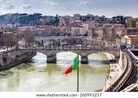 Skyline of Rome - stock photo