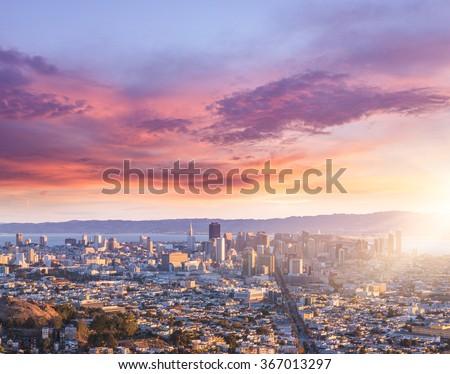 skyline of San Francisco, usa. - stock photo