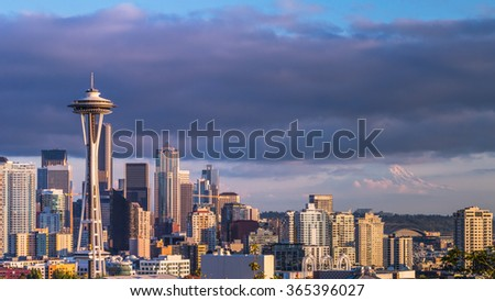 skyline of Seattle, downtown in sunset. - stock photo