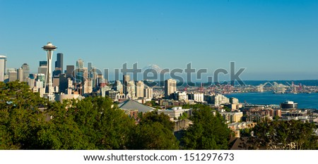 Skyline of Seattle, Washington, USA - stock photo