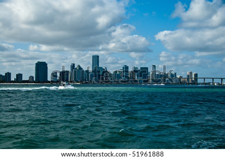 skyline of south beach in miami florida, as seen from the atlantic ocean - stock photo
