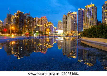 Skyline of Taichung city in Taiwan at night - stock photo
