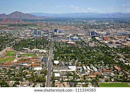 Skyline of Tempe and parts of Scottsdale and Phoenix from above - stock photo
