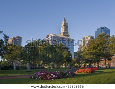 Skyline of the city of Boston seen from a park - stock photo