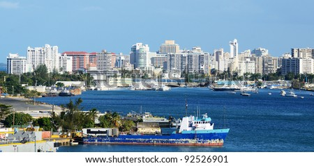 Skyline of the New City at San Juan, Puerto Rico. - stock photo