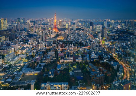 Skyline of Tokyo Cityscape with Tokyo Tower at Night, Japan - stock photo