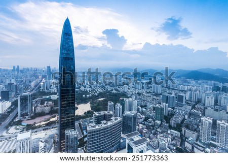 skyline,office building and modern cityscape of shenzhen - stock photo
