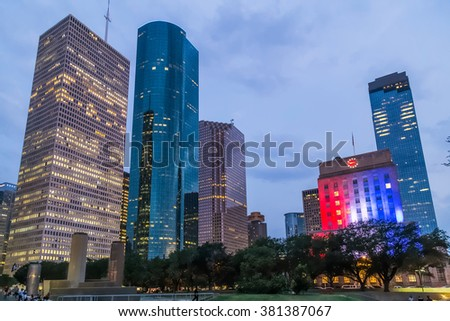 Skyline Panorama of City Hall and Downtown Houston, Texas by night - stock photo