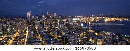 Skyline Seattle by night - stock photo