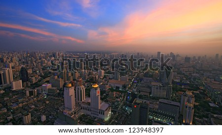 Skyline view of Bangkok cityscape with twilight sky at dusk, Thailand - stock photo