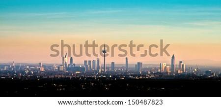 skyline view of Frankfurt in beautiful afternoon light - stock photo