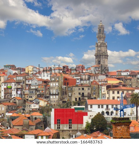 skyline with red tiled roofs of old town, Porto, Portugal - stock photo