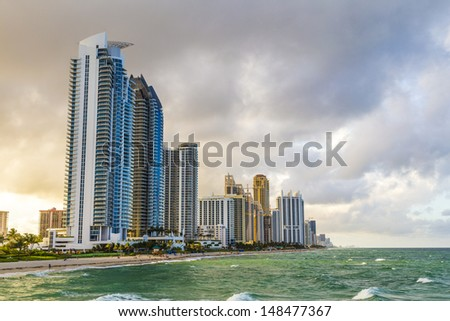 skyscraper at Sunny Isles Beach in Miami, Florida - stock photo