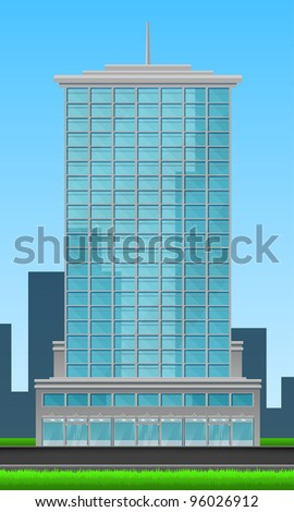 Skyscraper front view of blue glass on city background and blue sky. - stock photo