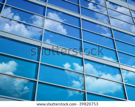 Skyscraper glass (high-quality 3D with almost undistinguishable stairs inside the building) - stock photo