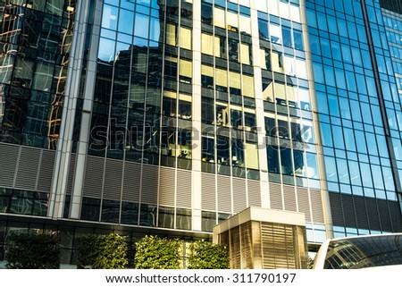 Skyscraper. Glass windows of modern office. - stock photo