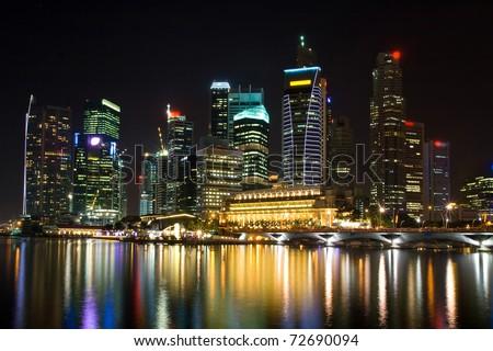 skyscraper in Singapore at night - stock photo