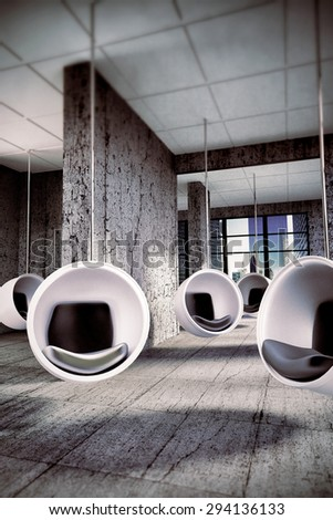 skyscraper interior with modern floating chairs - stock photo