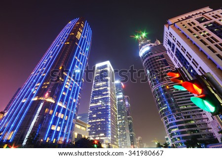 Skyscraper office building in shenzhen city - stock photo