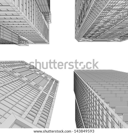 Skyscraper rendering in lines. Isolated render on a white background - stock photo