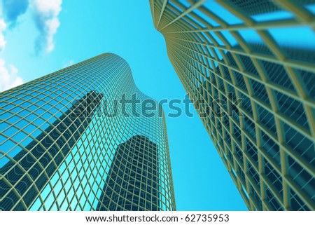 Skyscraper view up on blue sky - stock photo